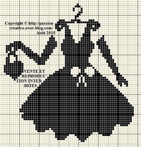 Grille gratuite point de croix : Une petite robe noire 2