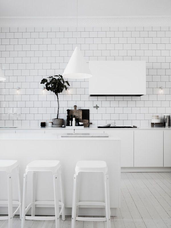 All white kitchen white subway tiles the home of lotta agaton