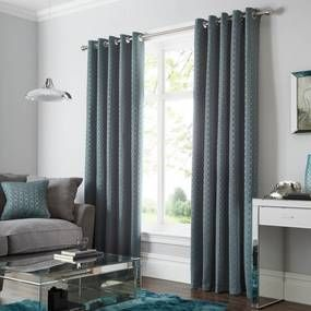 Geo Teal Lined Eyelet Curtains