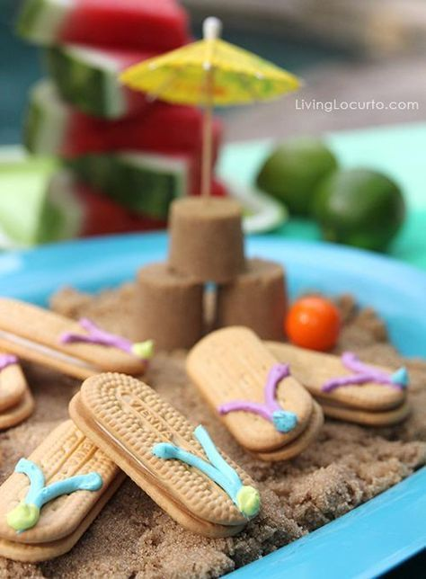 Cute Beach or Pool Party Ideas for kids! Nutter Butter Flip Flop Cookies and more fun food recipes and printables for summer parties. By Amy Locurto LivingLocurto.com