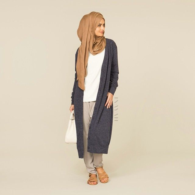 INAYAH | White Crepe Top + Blue Textured Knit Cardigan Dark Sand Modal Hijab + Grey Crossover Trousers