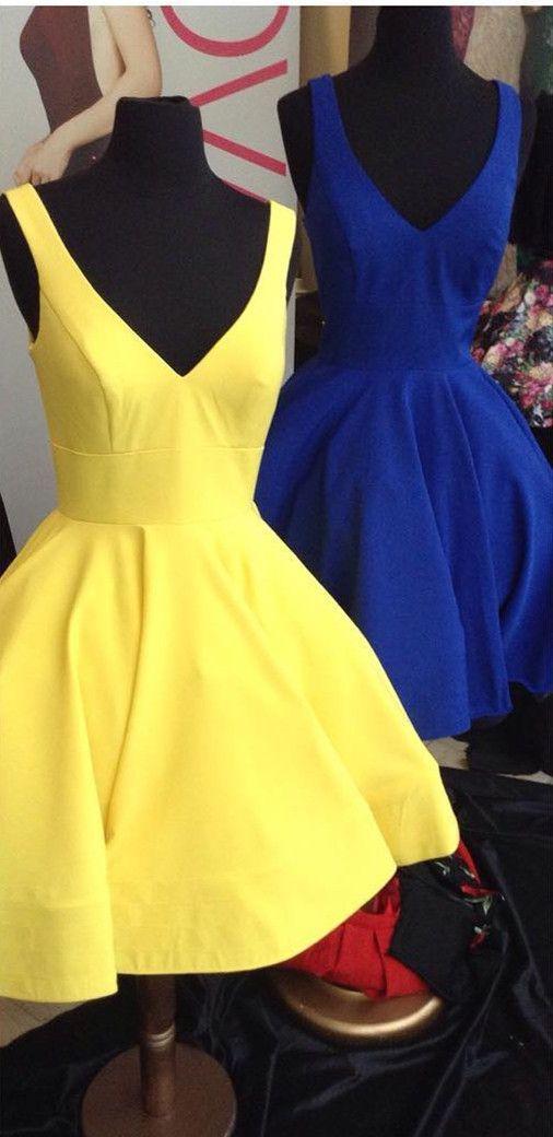 2017 short homecoming dress, royal blue homecoming dress, yellow homecoming dress, short homecoming dress