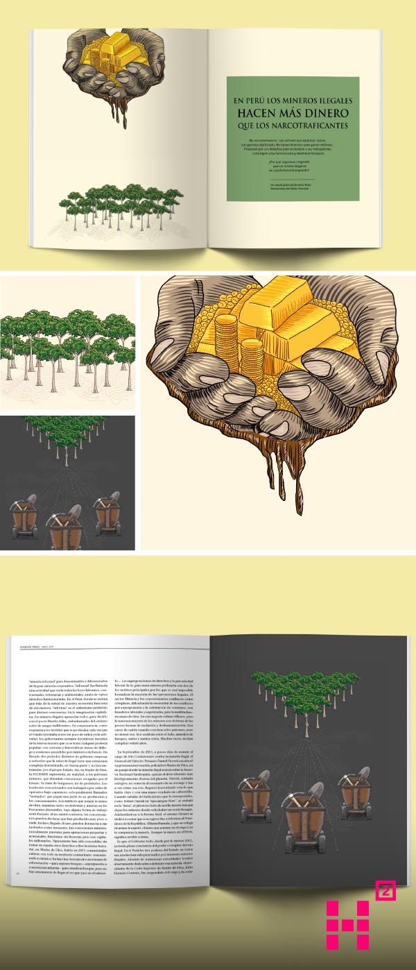 #Ilustración sobre la #minería ilegal para la edición N.14 de la #revista Etiqueta Verde.