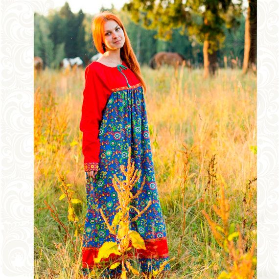 Dress of cotton for woman Olyana Ethnic style Traditional