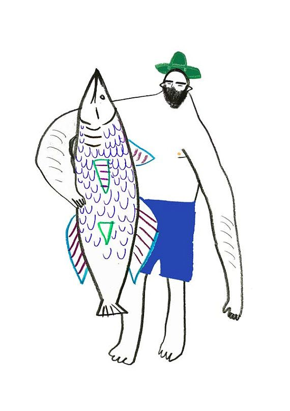 Man with Fish. fish illustration art print wall by AshleyPercival