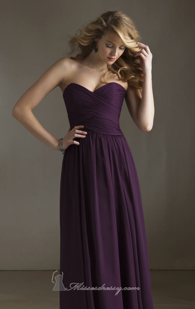 Dramatic deep purple bridesmaid dress mori lee 20411 by for Purple wedding dresses for bridesmaids