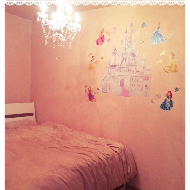 naruさんの、ベッド周り,寝室,ウォールステッカー,ディズニー,ピンク,シンデレラ城,ディズニープリンセス,のお部屋写真