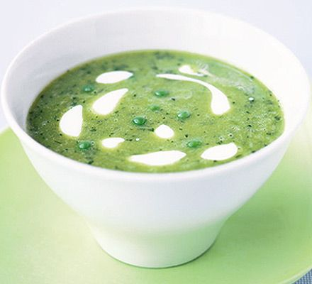 Easy pea & mint soup - try with goat cheese crumbles instead of cream.