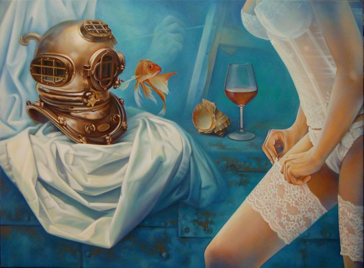 ,,Mermaid song''-oil on canvas-81X60cm by artist Florentin Vesa