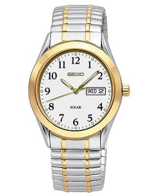 Seiko Solar Mens Watch - White Dial - Two-Tone - Expansion Band - Day-Date