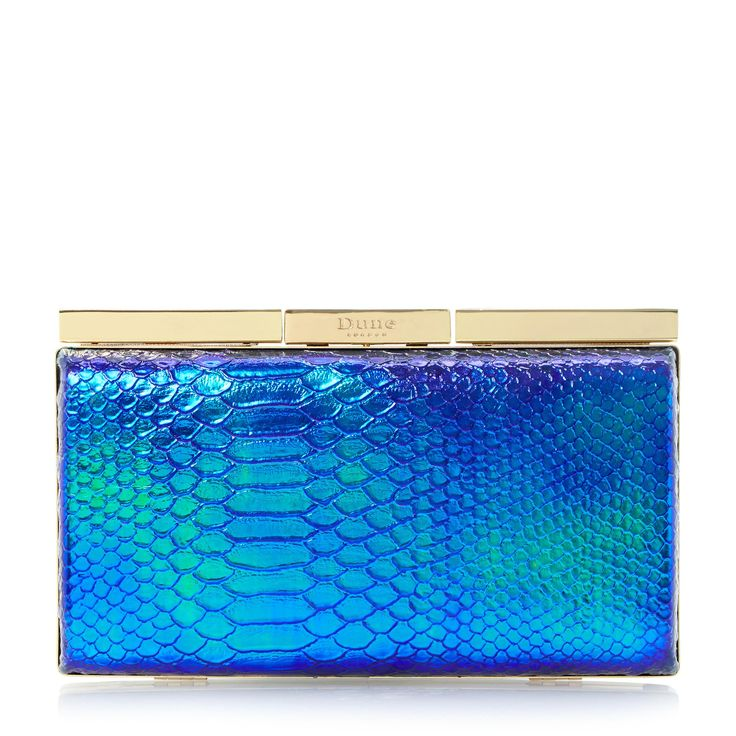DUNE ACCESSORIES BELISSMO - Reptile Print Metal Frame Clutch Bag - blue | Dune Shoes Online