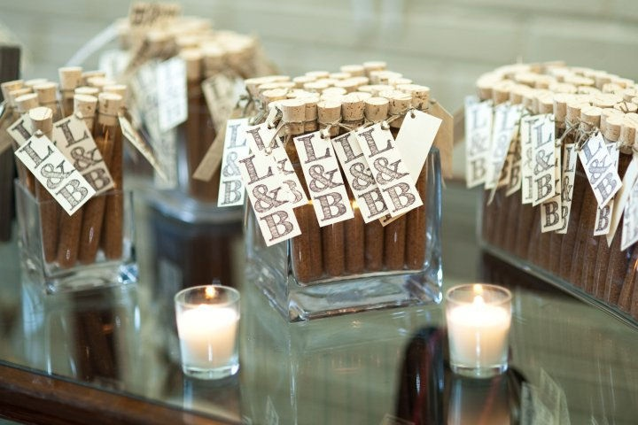Use tubes (available in different sizes) to make these fun and simple DIY wedding favors. Fill tubes with one of the following;  1. Seeds to symbolize growth 2. Tea to symbolize health and wellness 3. A blend of spices to represent the blending of two families  4. Candy for a sweet surprise