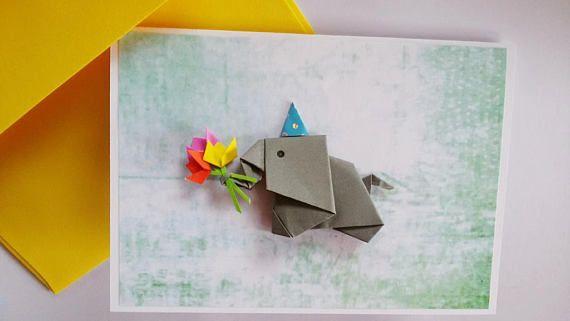 Cute Origami Elephant Birthday Card Funny Unique Anniversary Etsy Origami Elephant Cute Origami Origami Birthday Card