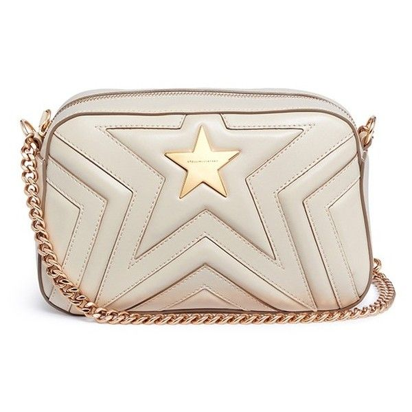 Stella McCartney 'Stella Star' quilted faux leather crossbody bag found on Polyvore featuring bags, handbags, shoulder bags, white, white handbag, crossbody purse, white crossbody purse, cross-body handbag and white purse