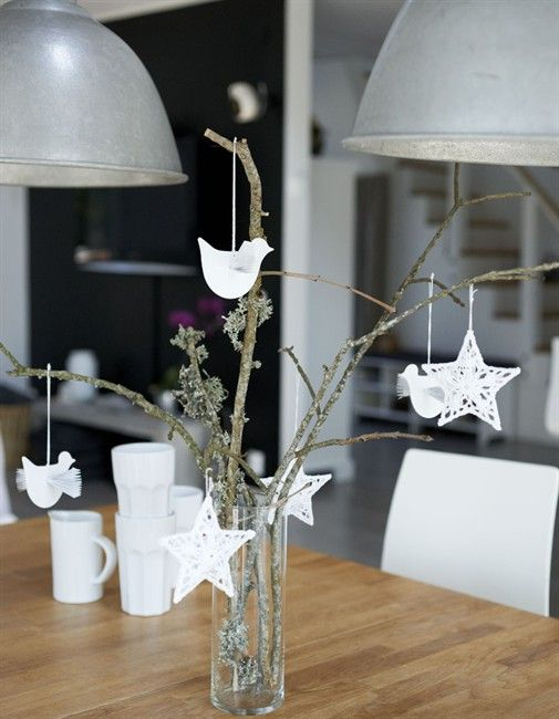 Dining table decorations Inspired by IKEA  Create beautiful ornaments with paper and use them to decorate some stray branches