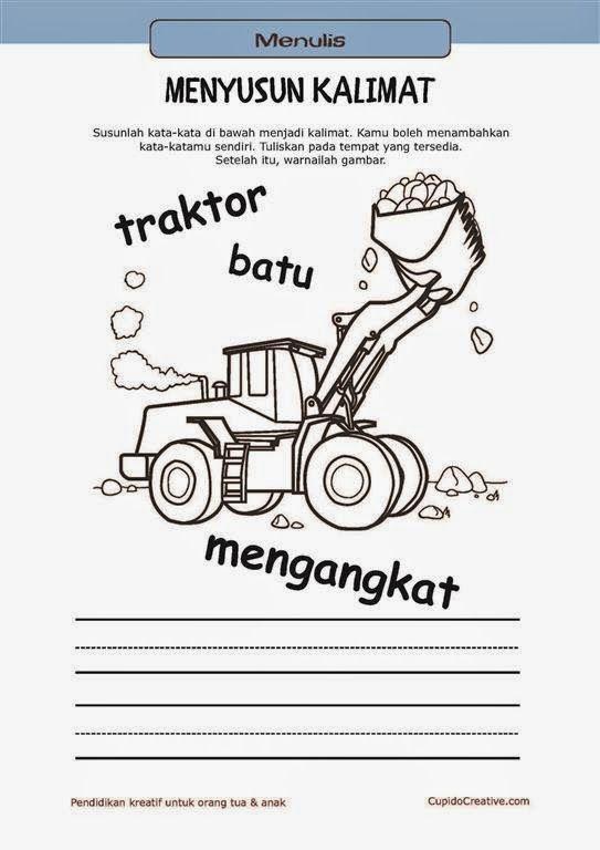 belajar membaca & menulis anak TK/SD, menyusun kata menjadi kalimat & mewarnai gambar traktor