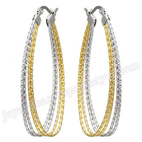Material:Acero Inoxidable     Nombre:Doble tono aros acero de oval para mujer de moda 2013   Model No.:SSEG086   Talla:52*32mm