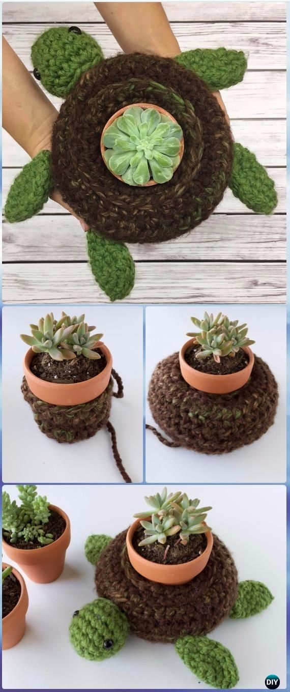 Crochet World Turtle Succulent Holder Free Pattern - Crochet Boot Cuffs Free Patterns