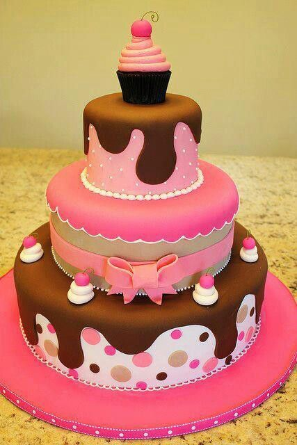 Cute girly pink and brown tier birthday cake