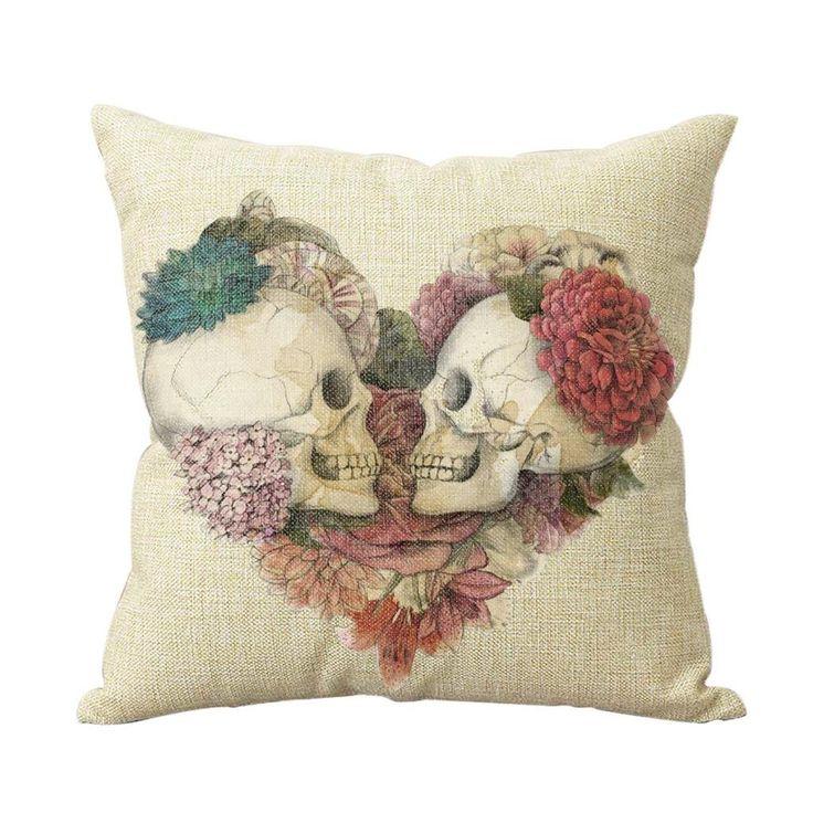 """Teschi innamorati Cuscino decorativo, teschio Vintage, per divano-Cuscino 45 x 45,72 cm (18""""): Fucsia: Amazon.it: Casa e cucina"""