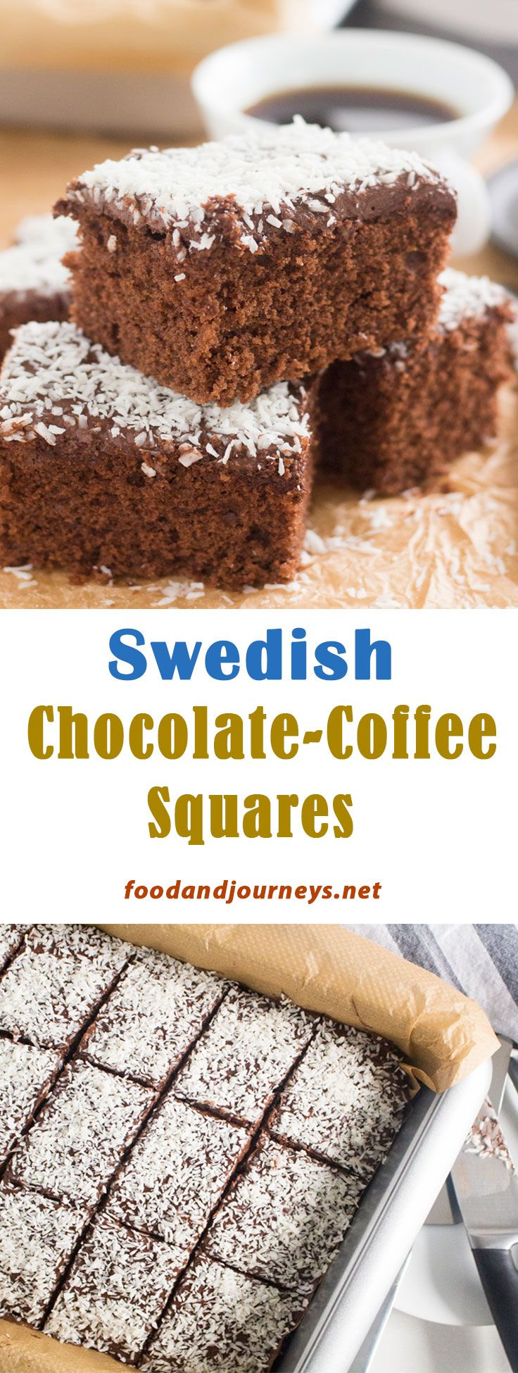 Swedish Recipe | Scandinavian Recipe | Chocolate Cake Recipe | Coffee Cake Recipe. This classic Swedish treat is so easy to make! Moist chocolate cake with chocolate-coffee icing, topped with coconut flakes and cut into squares. Great for snack, breakfast or dessert! #chocolatecakerecipe #swedishrecipes