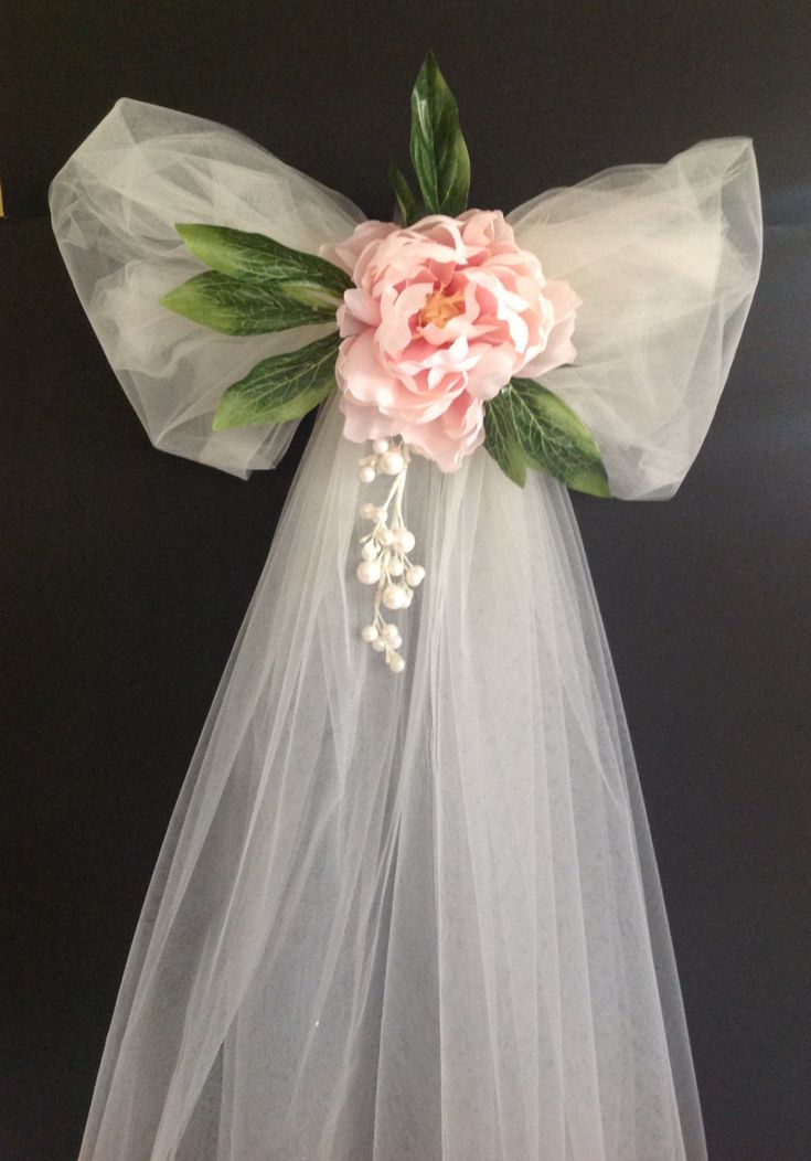 Tulle Bow ~ Wedding, Quinceanera, Shower, Communion, Decoracion con Tul Novia ~Customized Pew Bow ~ Available with Personalized Satin Ribbon by TouchOfRibbon on Etsy