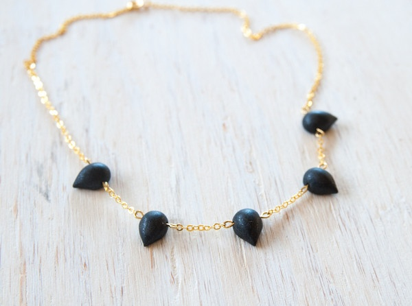 The Charcoal Rain Drops gold-fill, handmade necklace. Exclusive to World Hippie Originals ; http://worldhippieoriginals.com/collections/lookbook/products/charcoal-rain-drops