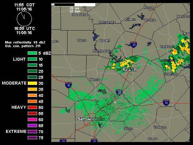 11/05/2016  12noon   Austin-San Antonio Radar   Weather Underground