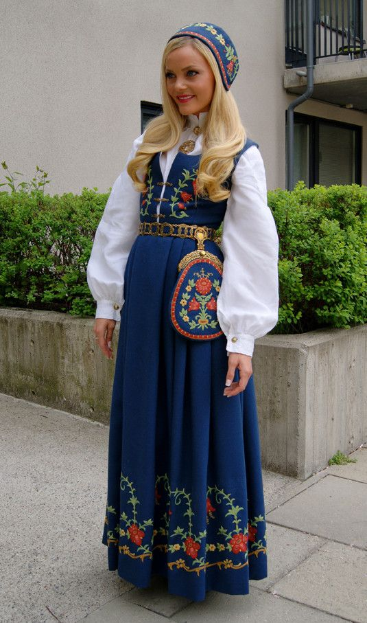 Bunad from Løkenbunad, Norway. Norskies look forward to wearing their traditional native costumes many times a year for holidays and special occasions.