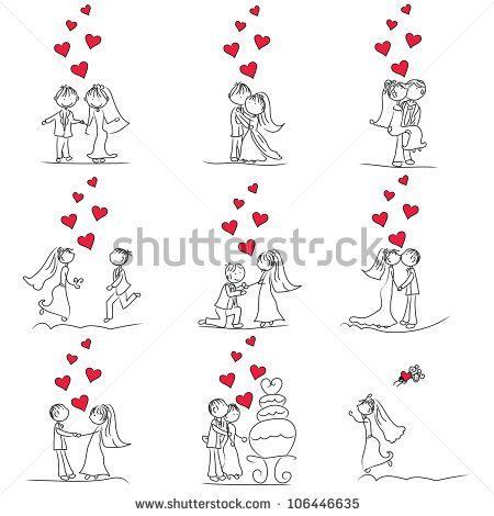 9 set of cute little cartoon wedding couple doodle
