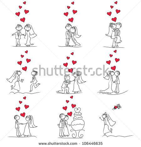 9 set of cute little cartoon wedding couple doodle