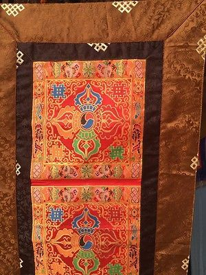 Tibetan Buddhism Silk Brocade Double Dorje Table Cover Shrine ...