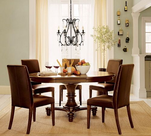 arlington round sienna pedestal dining room table w chestnut finish. i like the dark wood table set with lots of light, cool colors to offset · round dining room tablesround pedestal arlington sienna w chestnut finish n