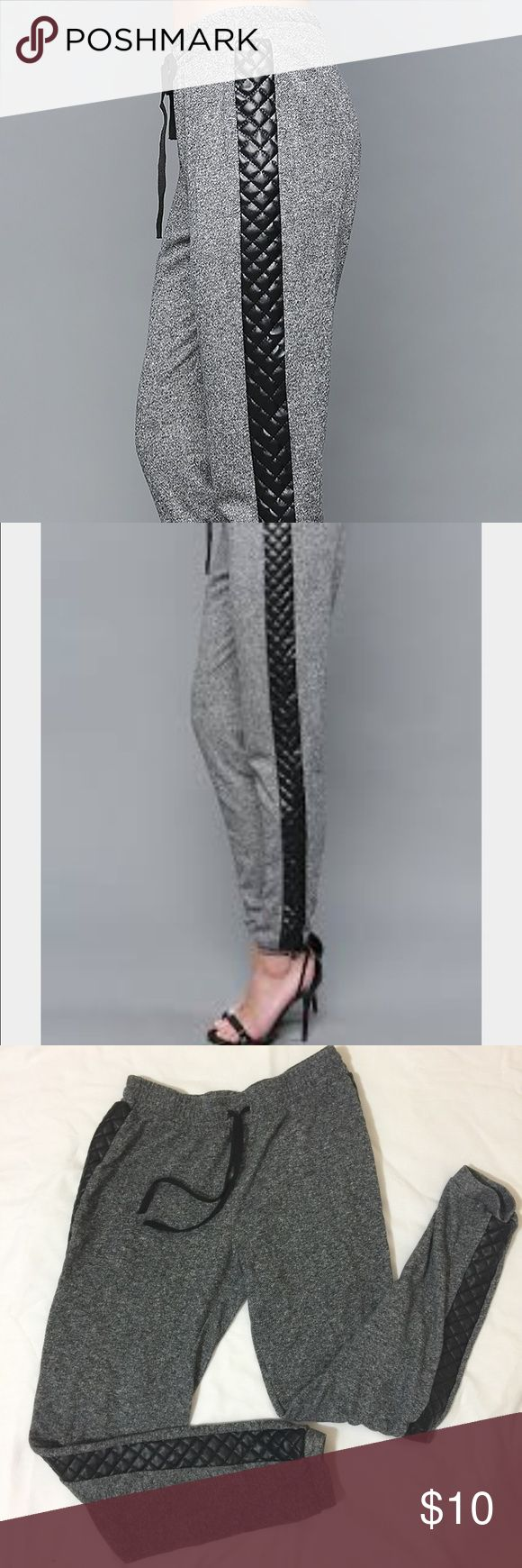 Papaya Side Faux Leather Quilted Jogging Pants Med Gray with black quilted faux leather on the sides; Size Med; 65% Polyester/ 35% Cotton Papaya Pants Track Pants & Joggers