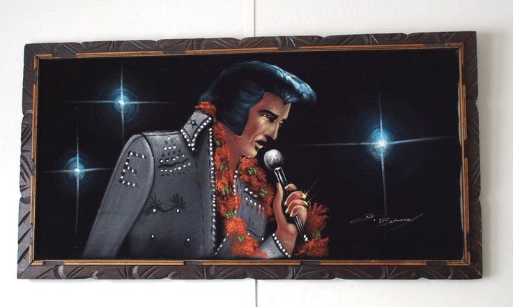 vintage large long black velvet Elvis painting 1970s mexico travel souvenier