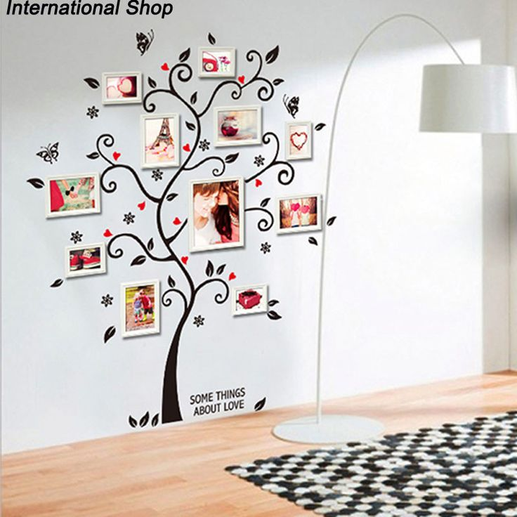 New Chic Black Family Photo Frame Tree Butterfly Flower Heart Mural Wall Decals