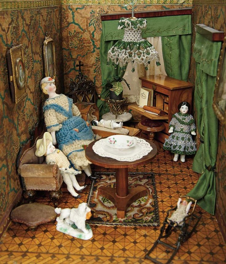 German Furnished Dollhouse Rooms with Dolls and Accessories of the  Biedermeier Era 3500 550052 best Antique Doll Room Boxes images on Pinterest   Antique  . Dolls House Interiors. Home Design Ideas