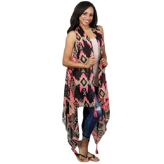 New Duster Long Pink Aztec Southwestern Boho Sizes Small-Lg Long Vest Style #SP #Duster