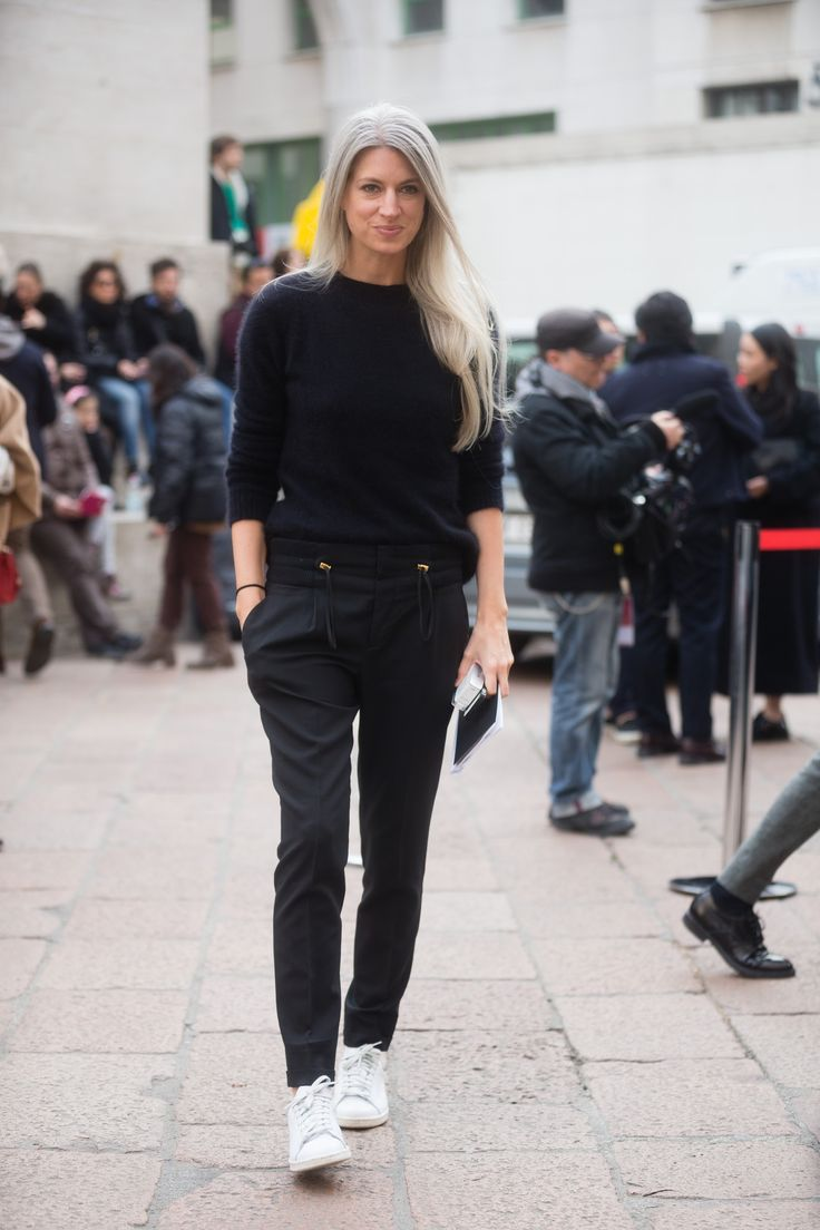 Who: Sarah Harris What: Fashion Features Director, British Vogue Why: Best known for her minimalist style and striking silvery hair—which is all natural.  Read more: http://stylecaster.com/ultimate-guide-50-street-style-allstars/#ixzz3lG7orGDX