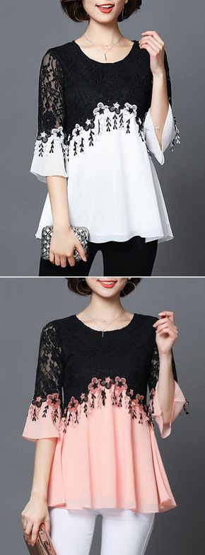 [Newchic Online Shopping] 48%OFF Women's Elegant Patchwork Shirts