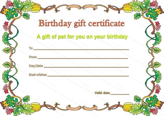 Pet Gift Certificate Template For Birthday | Beautiful Printable