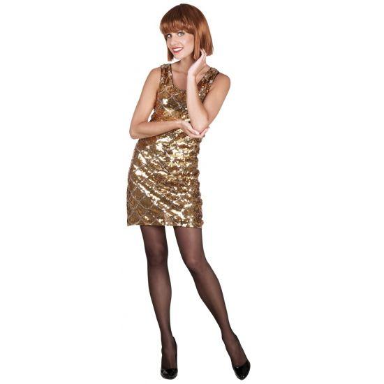Zwart jurkje met gouden pailletten. Dit zwarte jurkje heeft gouden pailletten aan de voorkant en is gemaakt van 100% polyester. Met dit jurkje weet jij zeker dat je niet onopgemerkt zult blijven. Alleen in maat medium leverbaar.