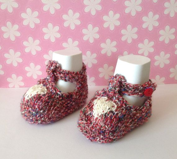 Baby Girl Shoes Red Crib Shoes Baby Knit Booties by Pinknitting