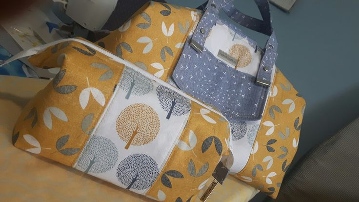 Castell Day Bag and small Retreat Bag set. From patterns by Emmaline Bags.