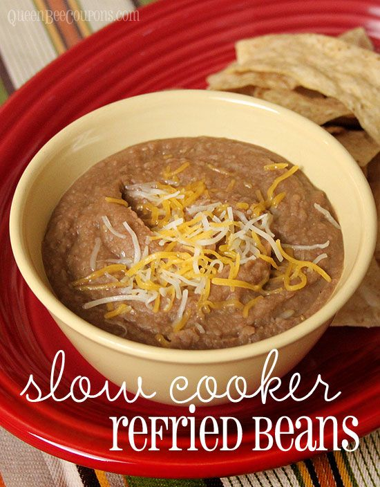 Crock pot refried beans. Slow cooker recipe. Perfect side dish for barbeques! Click through for recipe.