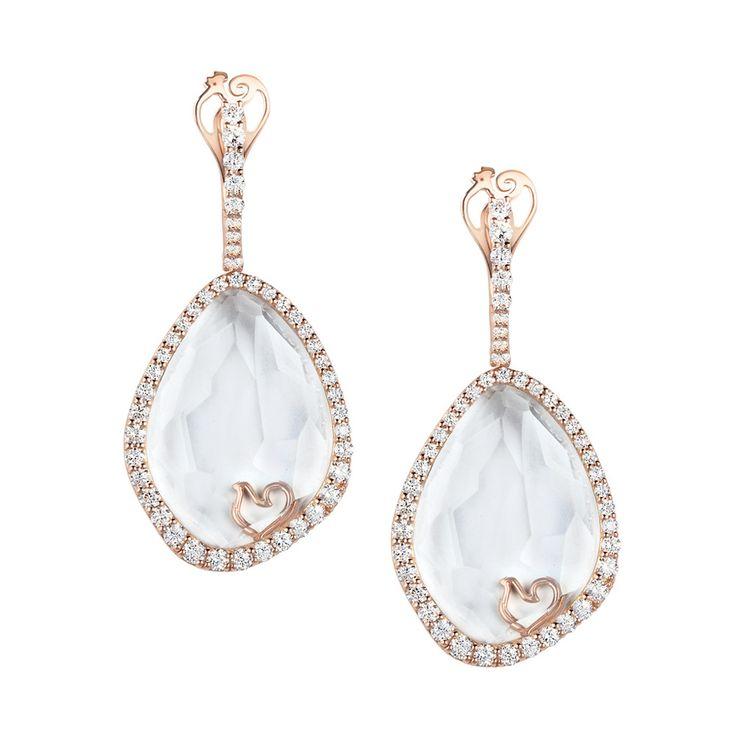 Enchanté - 33590 - Orecchini in oro rosa e diamanti con cristallo di zaffiro sfaccettato