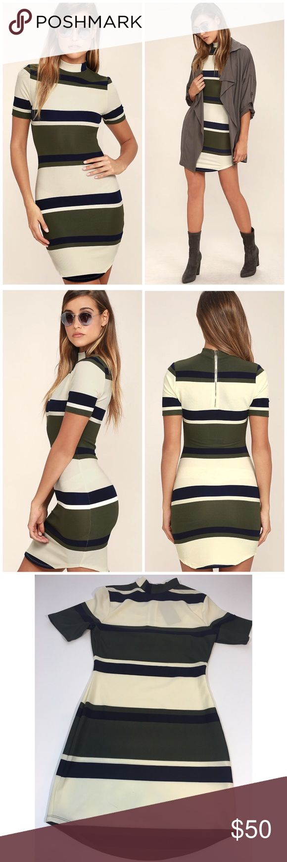NWT JOA Striped Bodycon Dress So cute and perfectly on trend! High neckline. Brand new with tags. Size small. No trades!! 012317120tmr Nasty Gal Dresses Mini