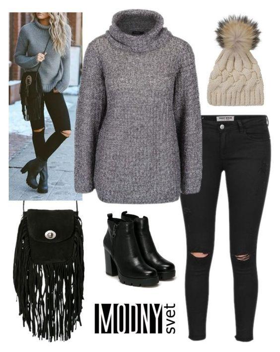 krémovo-sivý sveter