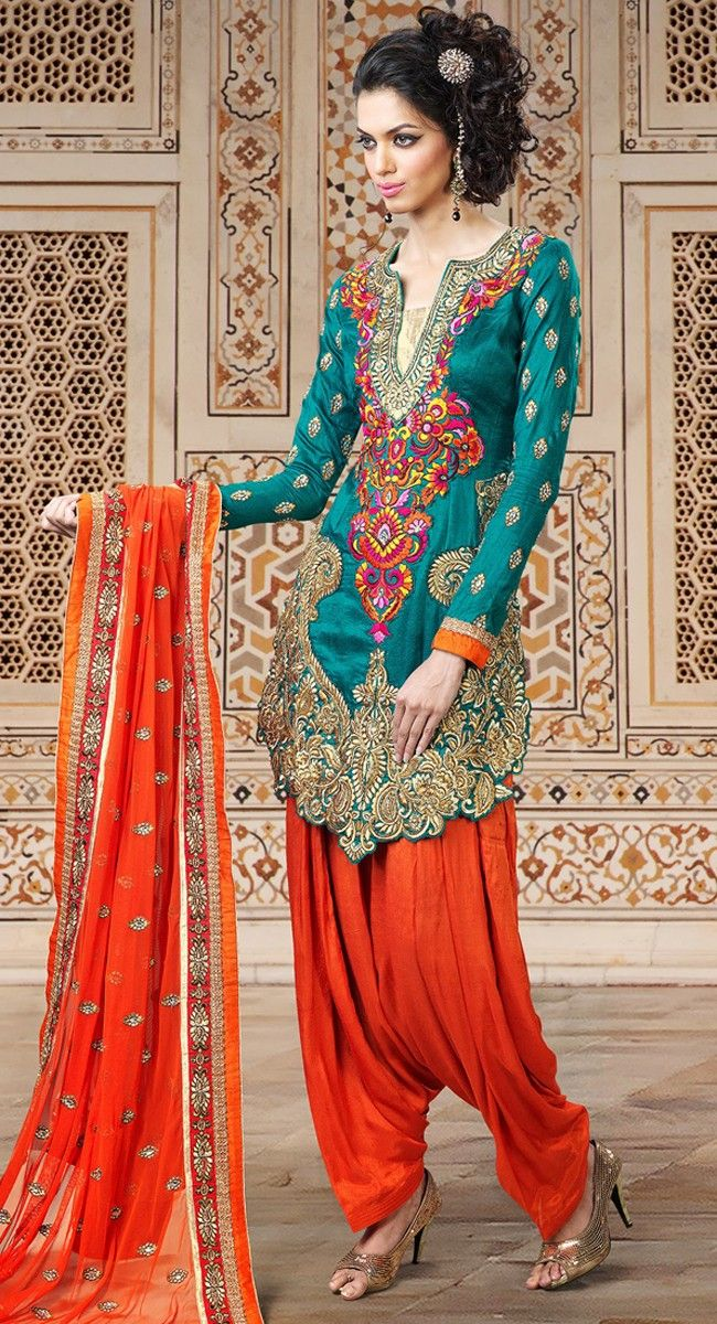 What an amazing top.  The colorful embroidery is beautiful.  Plushy Geenish Blue Salwar Kameez