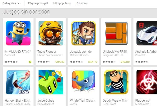 Juegos Offline para Android: Nueva colección en la Play Store
